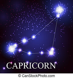 Capricorn zodiac sign of the beautiful bright stars on the...
