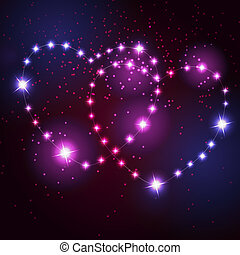 Two love heart from beautiful bright stars on the background...