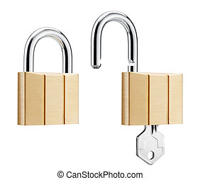 padlocks - two padlocks showing lock and unlock, isolated on...