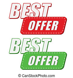 best offer in two colors labels, flat design - best offer in...