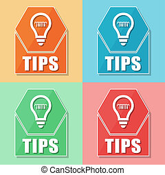 tips and bulb symbol, four colors web icons, business...