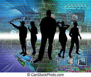 People in cyberspace - Abstract composition, which depicts...