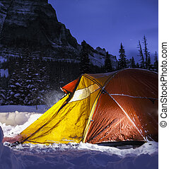 Camping at Night in the Mountains