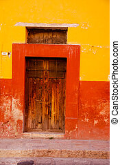 Rustic colorful door in the town of San Miguel de Allende,...