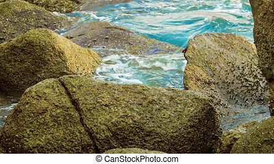 Tropical ocean shore with large stones