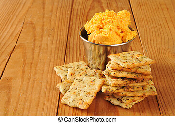 Herbal flatbread crackers with cheese spread - Italian herb...