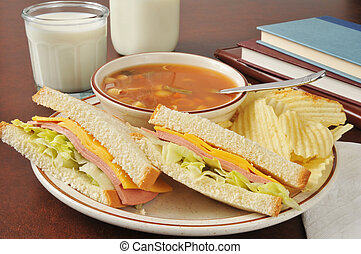 After school meal - Bologna and cheese sandwich with...