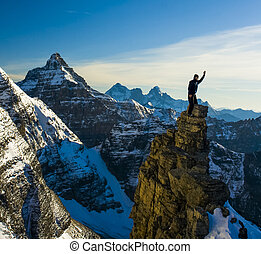 Mountaineer High in the Mountains of Canada