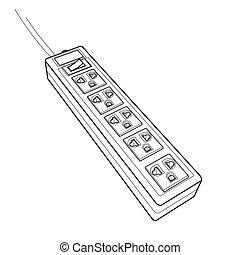 plug sockets outline vector