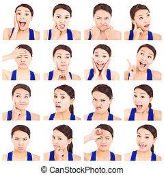 asiático, joven, mujer, facial, expresiones