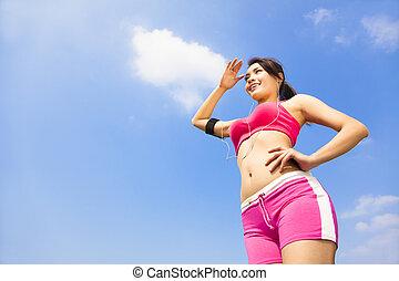 hermoso, mujer, deportivo, lejos, lejos, Mirar, Al aire...
