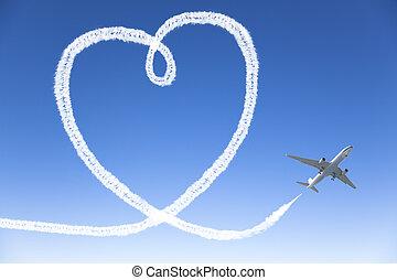 Coração, FORMA, voando, céu, avião