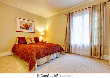 Charming bedroom with beautiful red bedding - Bright bedroom...