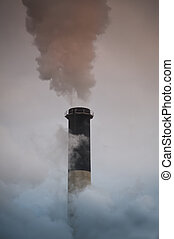 Industrial smokestack - Industrial smoke stack pouring...