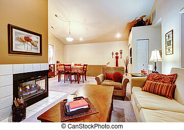 Open plan design. Living room with dining area - Warm colors...