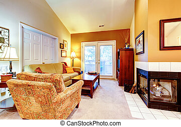 Warm colors living room with fireplace