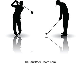 Golf sports Vector silhouette