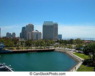 San Diego Skyline - San Diego skyscrapers form a background...