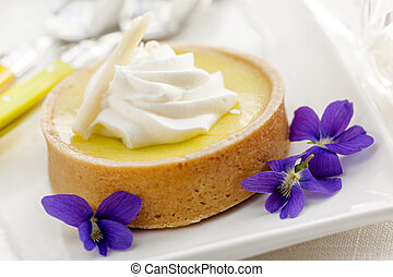 Lemon tart dessert - Fresh gourmet lemon dessert tart with...