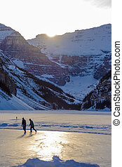 Skating on Rink at Lake Louise