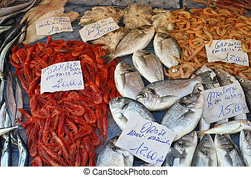 Mediterranean fish market with sale samples