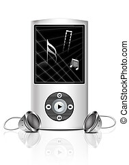 Media player - Black and white media player on white...