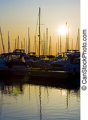 Marina Silhouettes at Sunrise