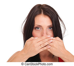 Young woman covering her mouth both hands isolated - Young...