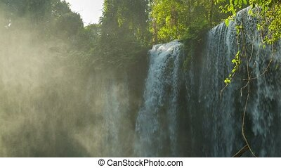 Big waterfall in Phnom Kulen National Park - Video 1920x1080...