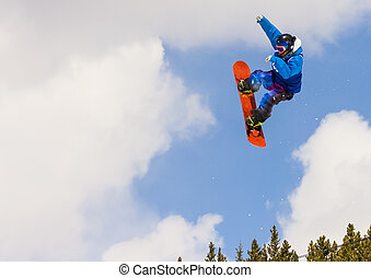 Snowboarder at Winter Resort