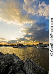 Boat Marina at Sunset