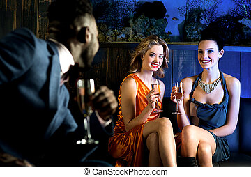 Elegant man looking at hot young girls - Young male staring...