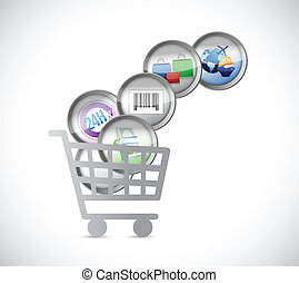 shopping car and e commerce buttons illustration design over...