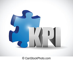 kpi puzzle piece illustration design over a white background