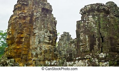 Ruins of the ancient temple complex of Bayon Angkor Thom...