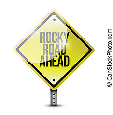 rocky road ahead sign illustration design