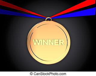 winner medal - 3d illustration of winner medal over dark...