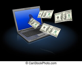 internet money - abstract 3d illustration of laptop computer...