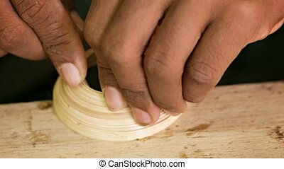 Making a bamboo cup. Workshop in Mandalay. Burma - Video...