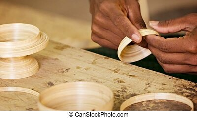 Making bamboo utensils. Workshop in Mandalay. Burma - Video...