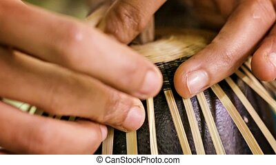 Making a cup from bamboo and horsehair Workshop in Mandalay...