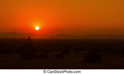 Red sunset over Bagan. Burma