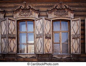 Old house in the Irkutsk city - Old wooden house in Irkutsk...