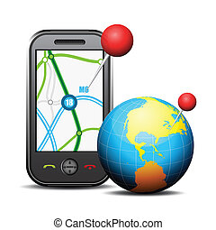 Cellphone and globe - Vector illustration of GPS on...