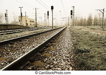 railway - railroad tracks, light rail, sepia