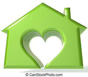 Green House Heart 3D image background