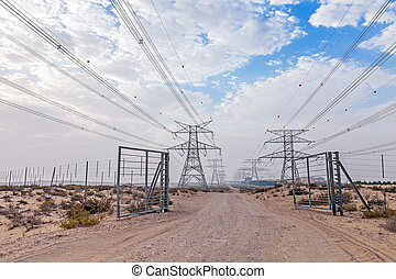 Powerlines in the Dubai desert