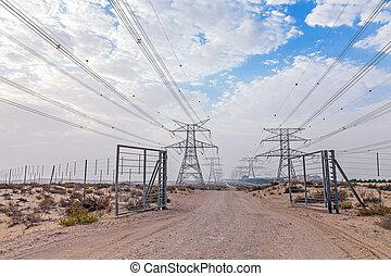 Powerlines in the Dubai desert