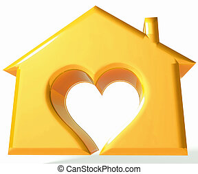 Gold House Heart 3D image