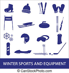 winter sports and equipment icons eps10